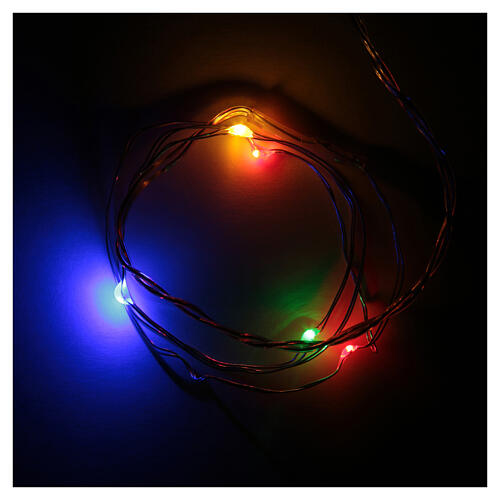 LED Christmas lights, 5 drop shaped, multicoloured and battery powered 1