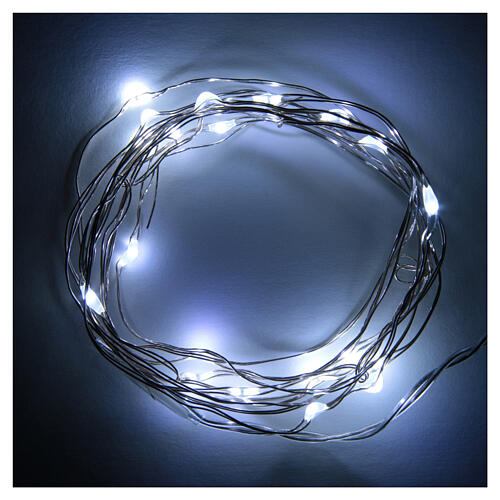 Battery powered Christmas lights, 20 drop shaped LED, cold white 1