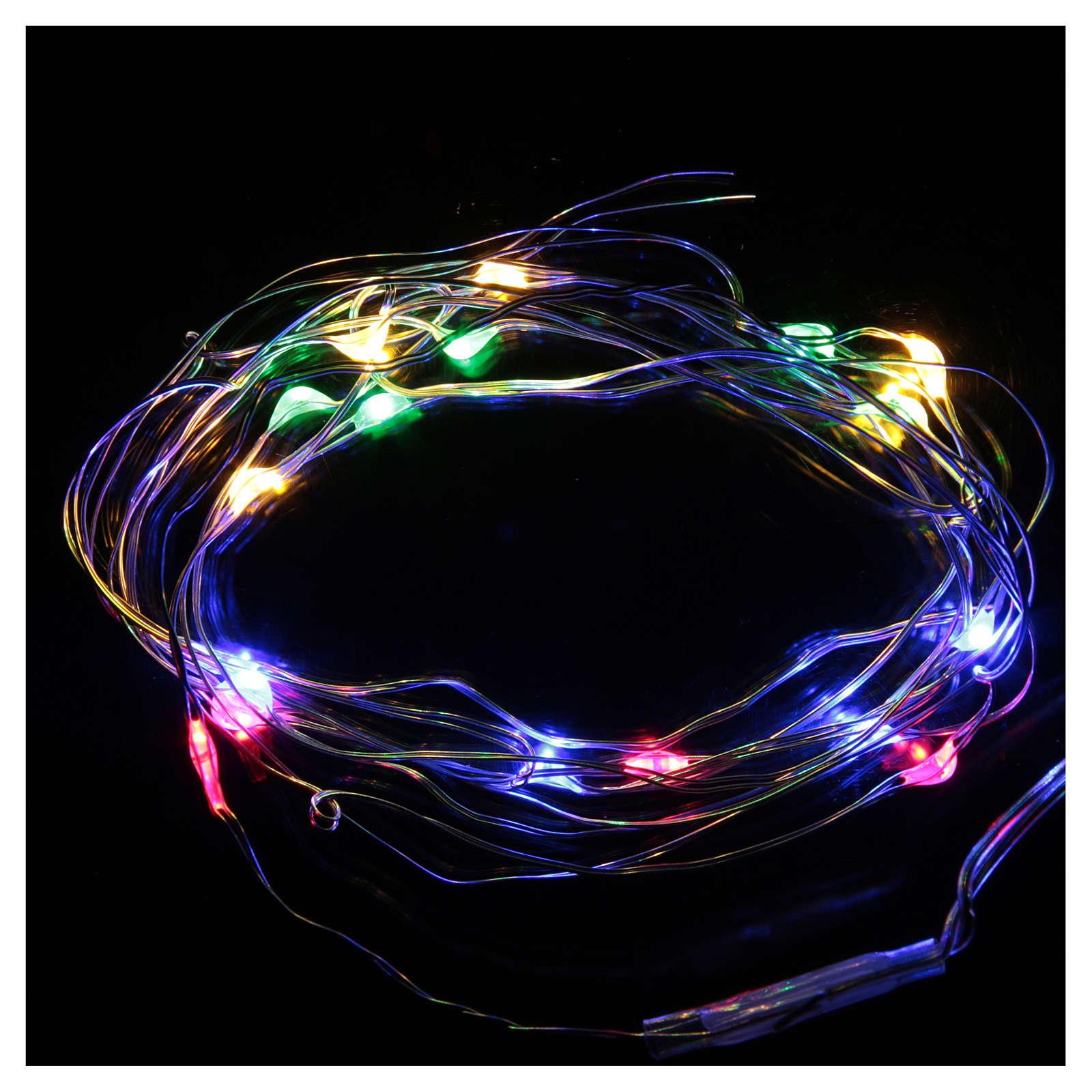 Luces de Navidad 20 LED tipo gota multicolor con baterías y cable a vista 3