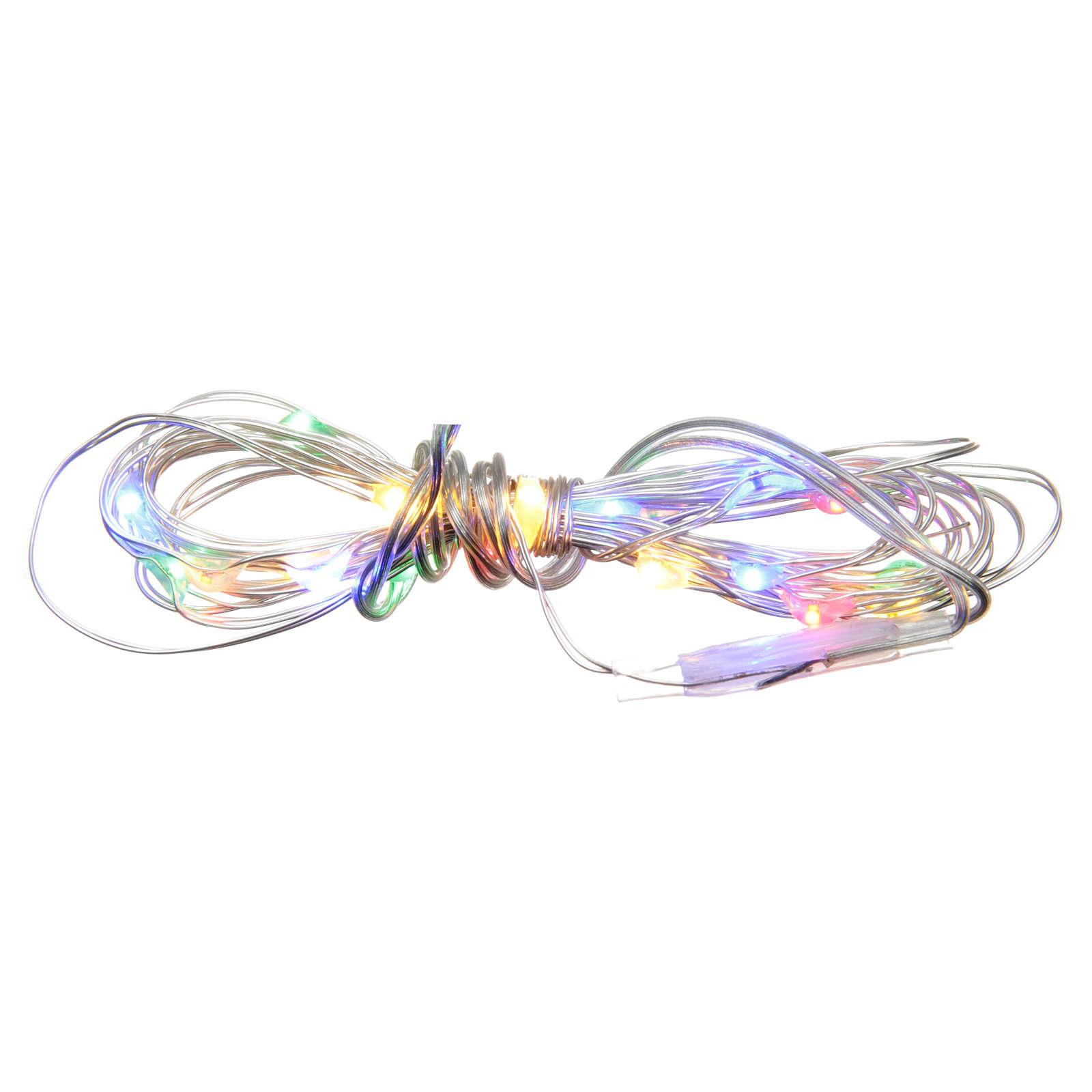 Luce di Natale 20 luci led a goccia multicolore a batteria filo nudo 3