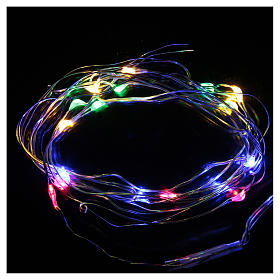 Luce di Natale 20 luci led a goccia multicolore a batteria filo nudo s2