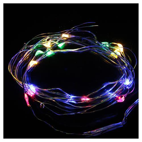 Luce di Natale 20 luci led a goccia multicolore a batteria filo nudo 2