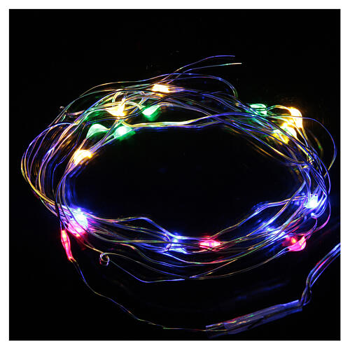 LED Christmas lights, 20 drop shaped, multicoloured and battery powered 1