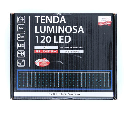 Cortina de luces de Navidad 120 LED azules para exterior 3
