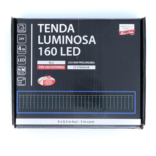 Luce di Natale tenda luminosa 160 led ESTERNO blu 3