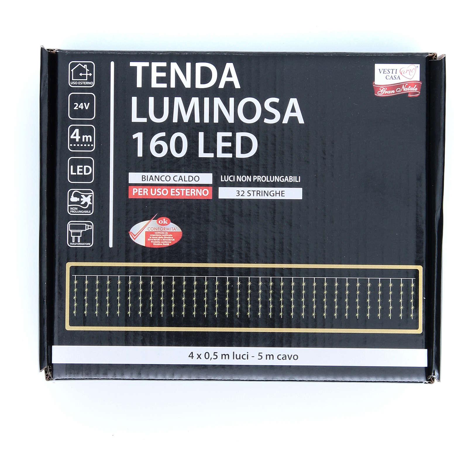 Cortina de luces de Navidad 160 LED blanco cálido para exterior 3