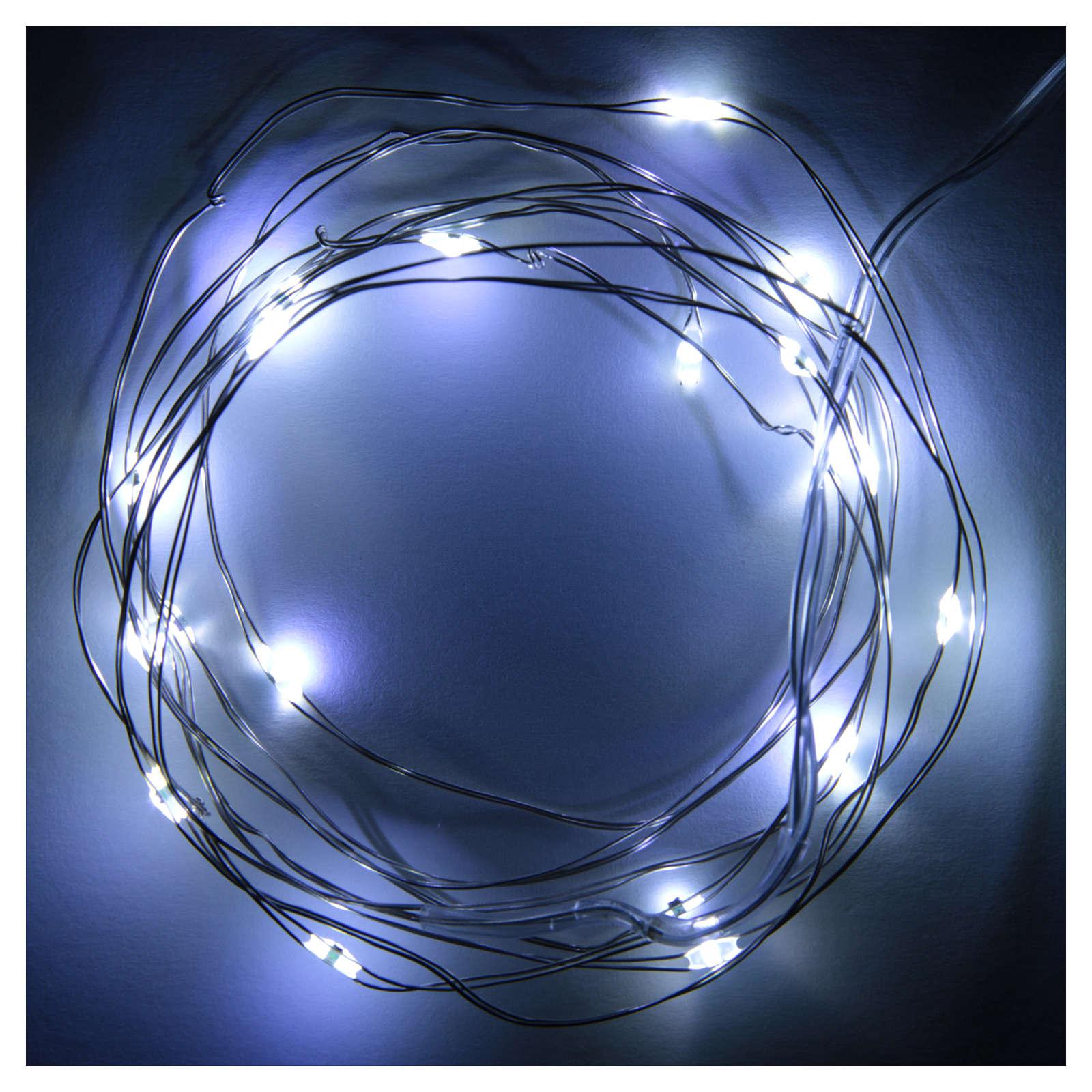 Luce di Natale filo nudo 20 led bianco freddo interno corrente 3