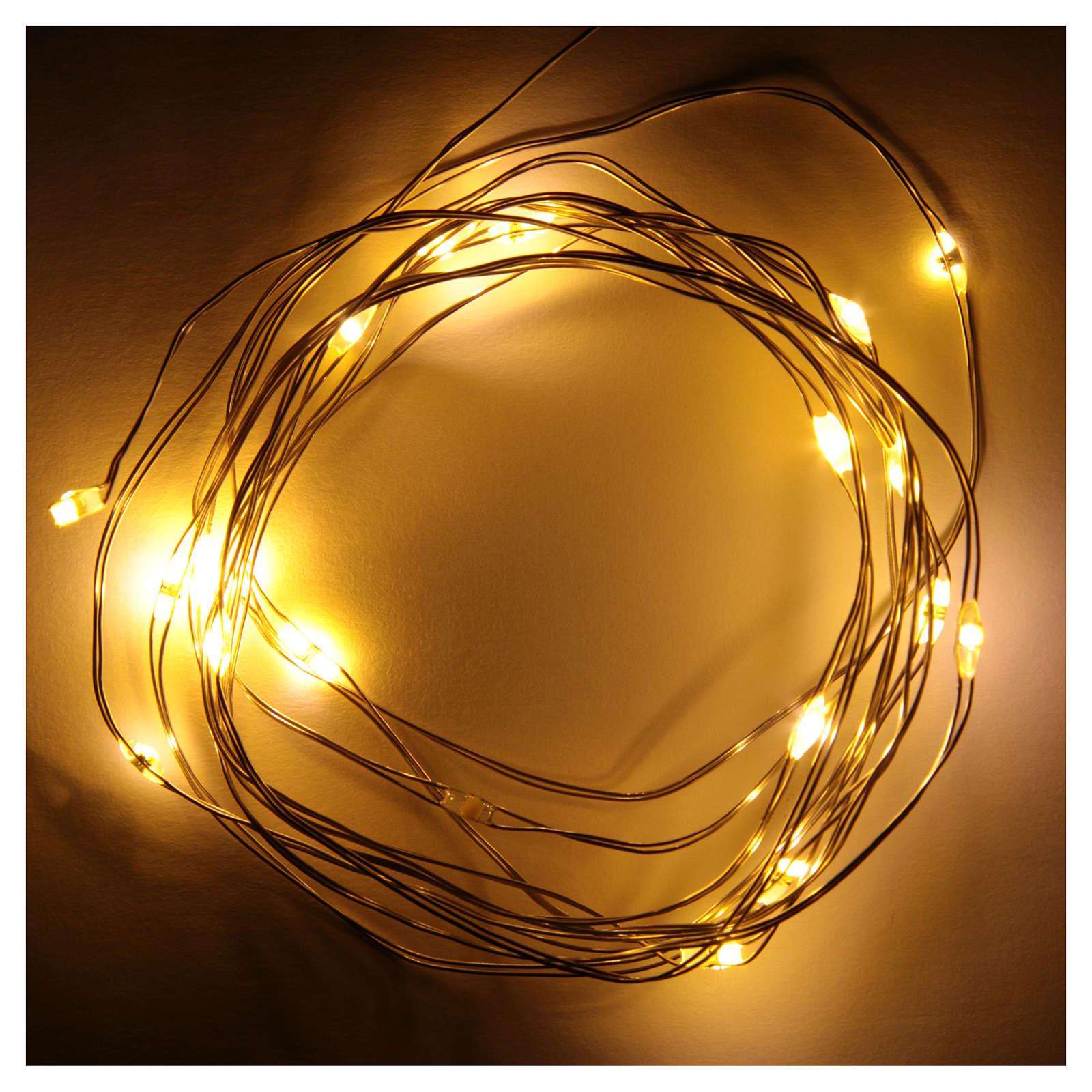 Luce di Natale filo nudo 20 led bianco caldo interno corrente 3
