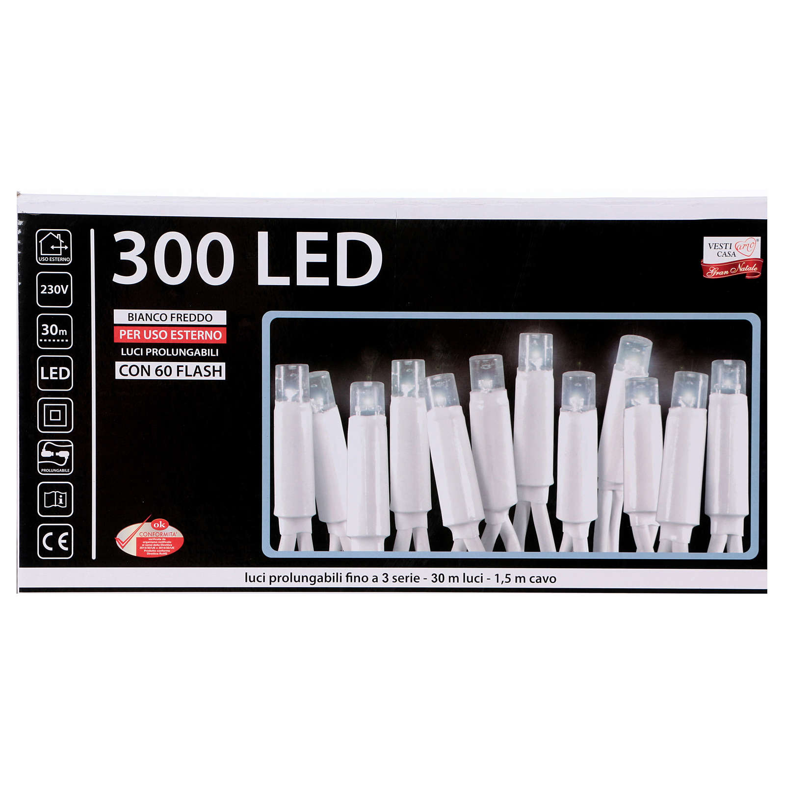 Fairy lights 300 LED, cold white, for outdoor use 3