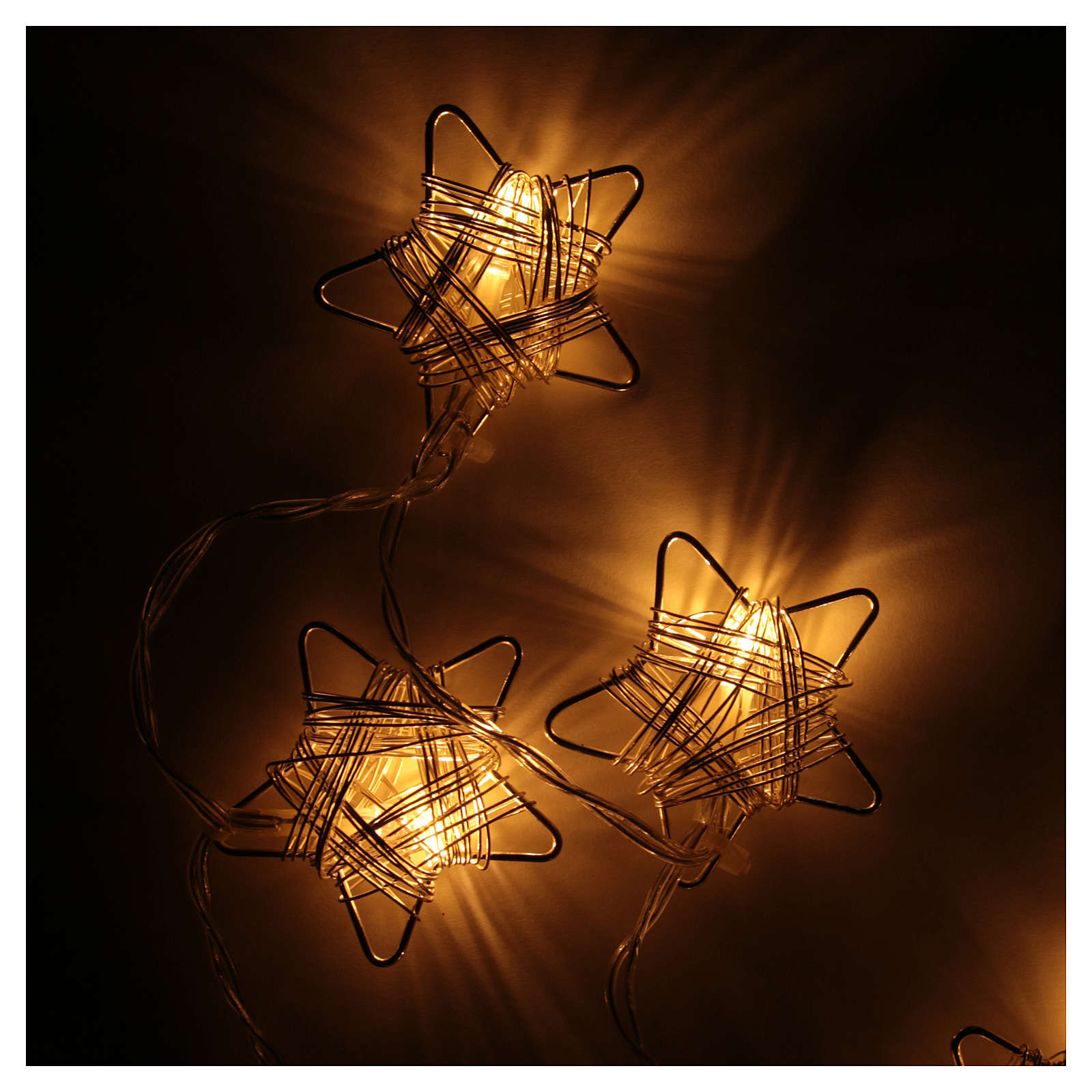 Luce di Natale 10 stelle led bianco caldo 3
