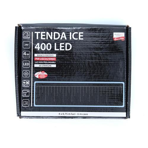 Luce natalizia tenda ICE 400 led bianco freddo ESTERNO 3