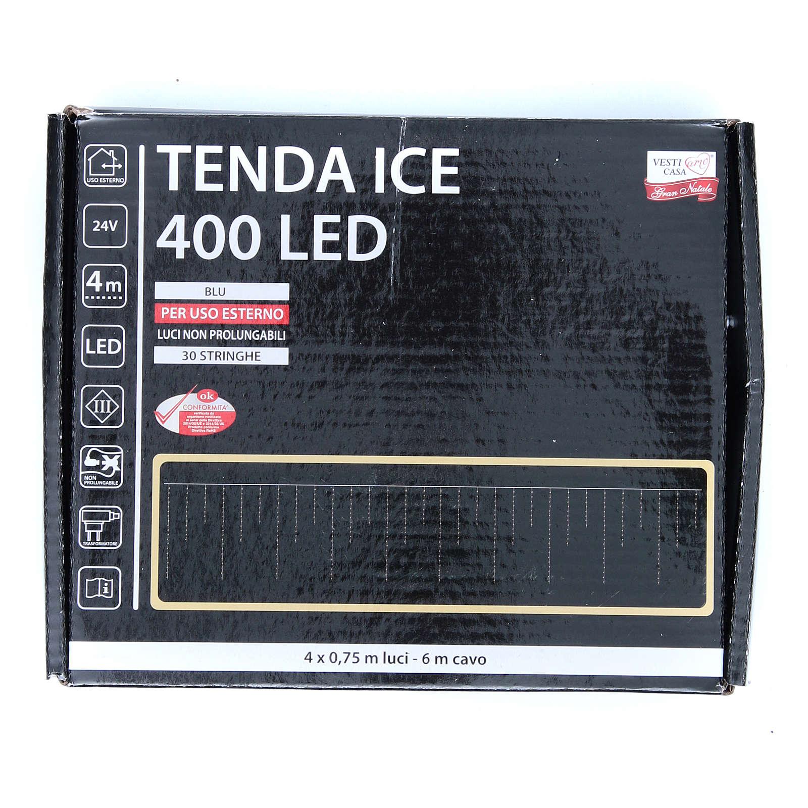 Luce natalizia tenda ICE 400 led blu ESTERNO 3