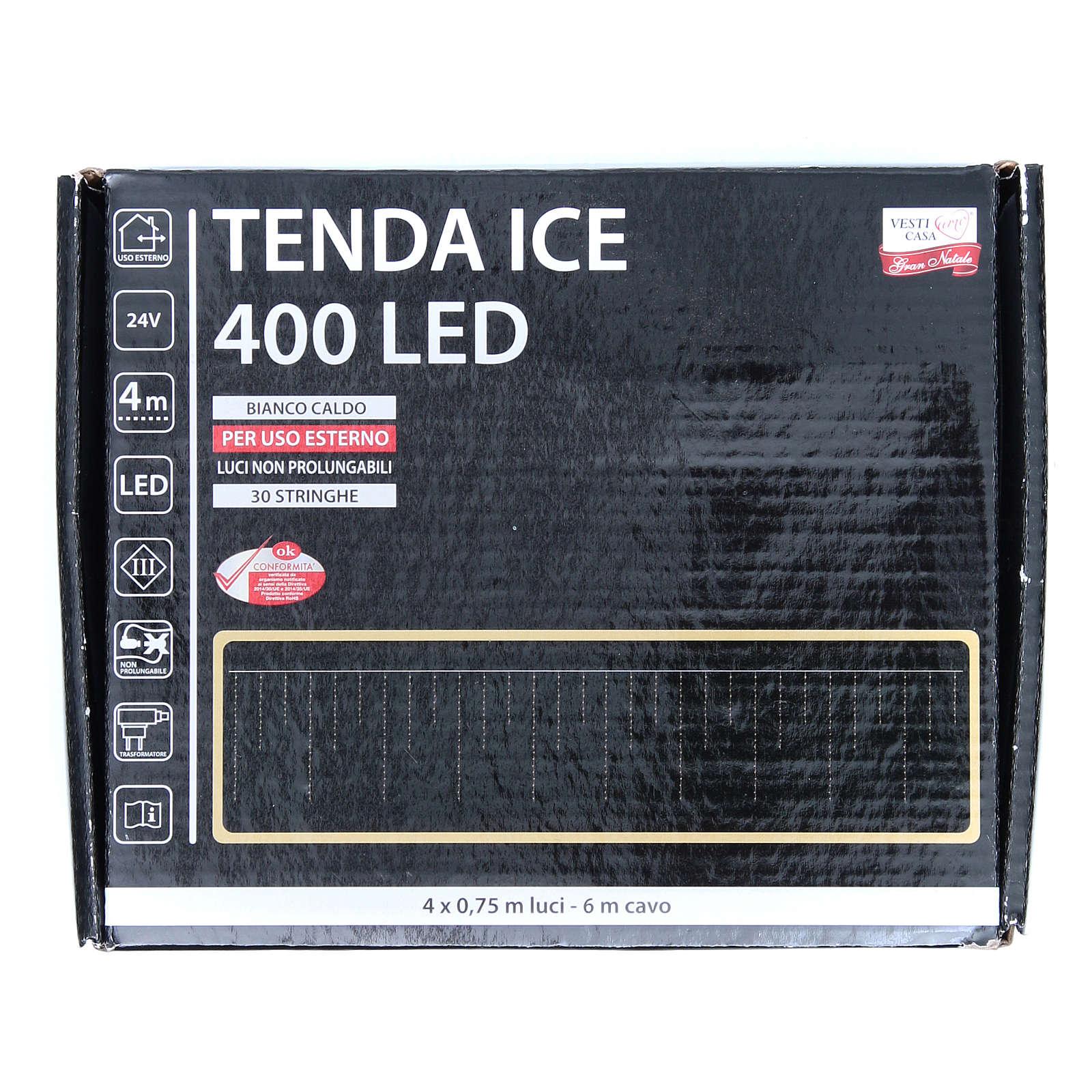 Luce natalizia tenda ICE 400 led bianco caldo ESTERNO 3