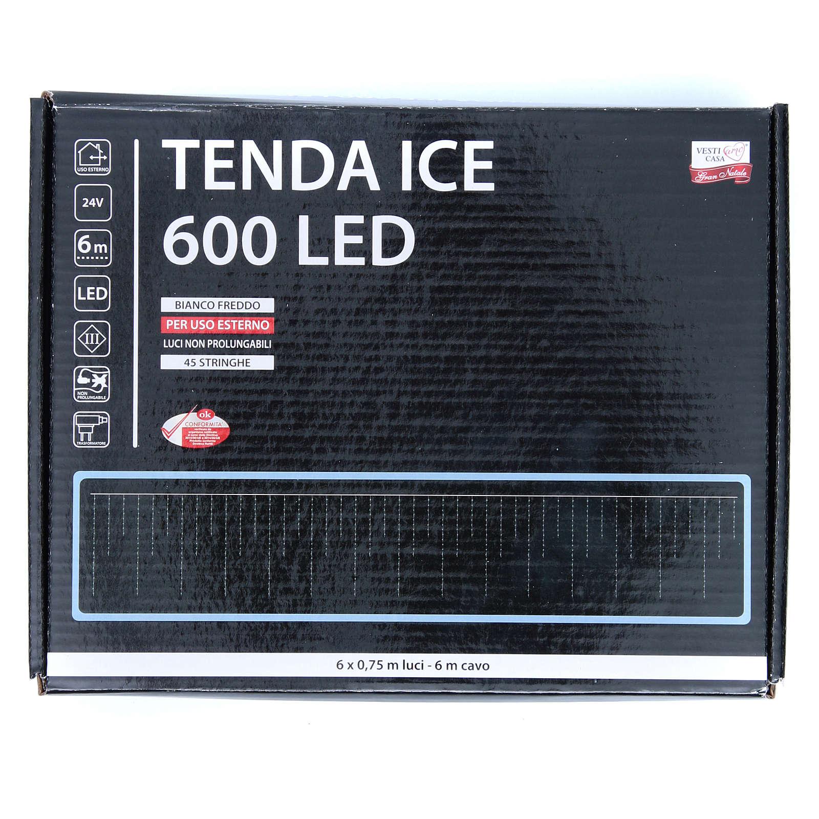 Luce natalizia tenda ICE 600 led bianco freddo ESTERNO 3