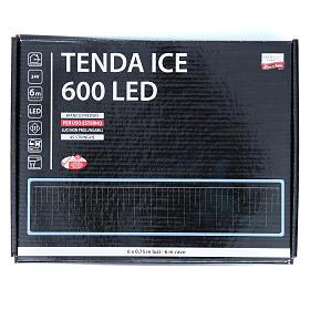Luce natalizia tenda ICE 600 led bianco freddo ESTERNO s3