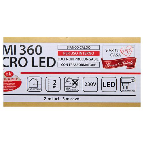 Luce di Natale rami 360 microled bianco caldo interno 5