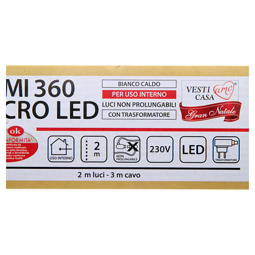 Christmas Lights: branches with 360 micro LED, warm white, indoor use 5