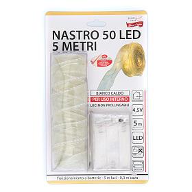 Luce Natalizia nastro 5 mt con 50 luci led bianco caldo s4
