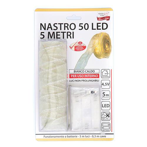 Luce Natalizia nastro 5 mt con 50 luci led bianco caldo 6