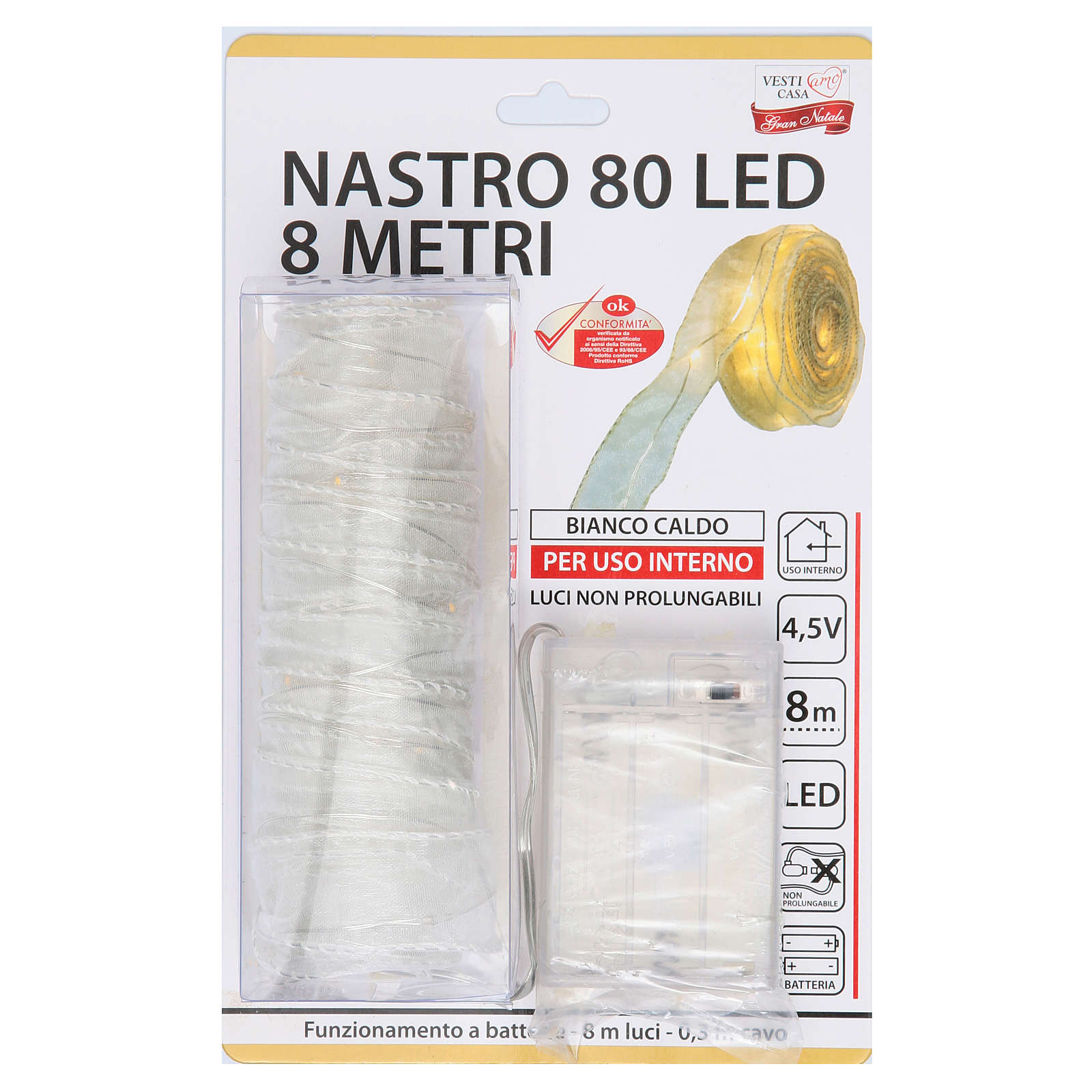 Luces Navideñas fita 8 mt 80 luces led blanco-amarillo 3