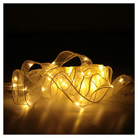 Luce Natalizia nastro 8 mt con 80 luci led bianco caldo s3