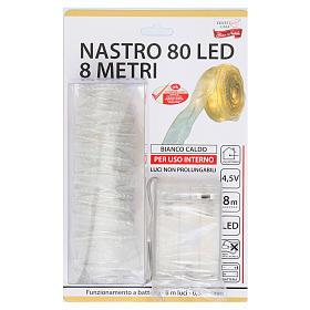 Luce Natalizia nastro 8 mt con 80 luci led bianco caldo s4