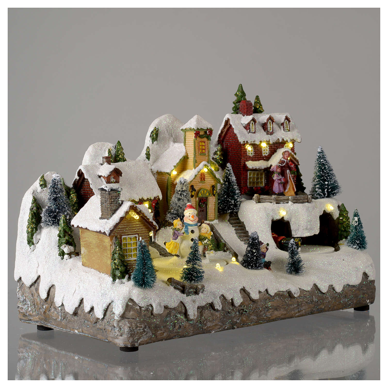 Christmas village with moving snowman  25x35x15 cm 3