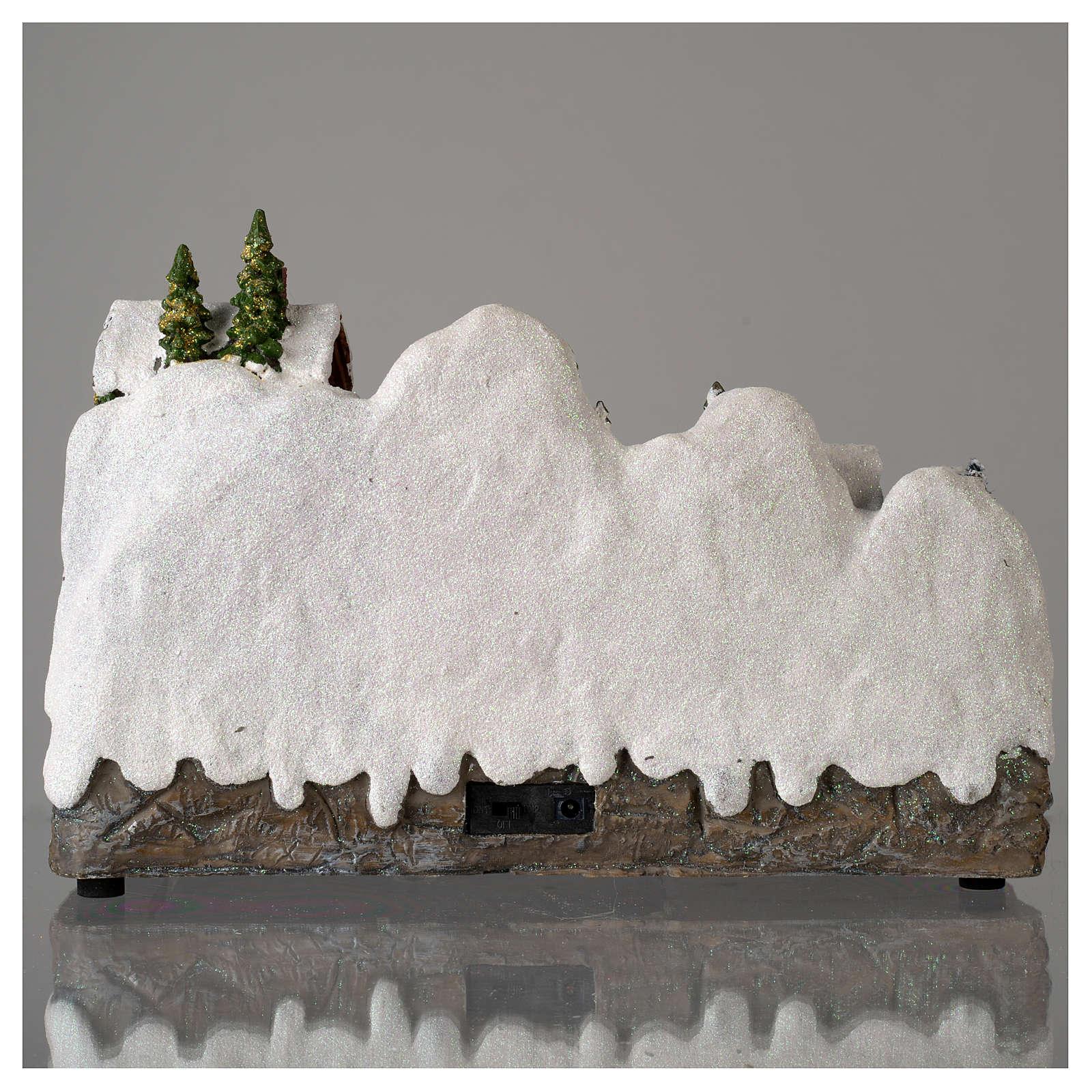 Villaggio natalizio con pupazzo di neve in movimento 25x35x15 cm 3