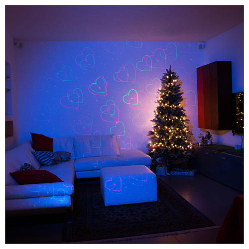 Christmas lights laser projector for interiors silver with heart decorations 3