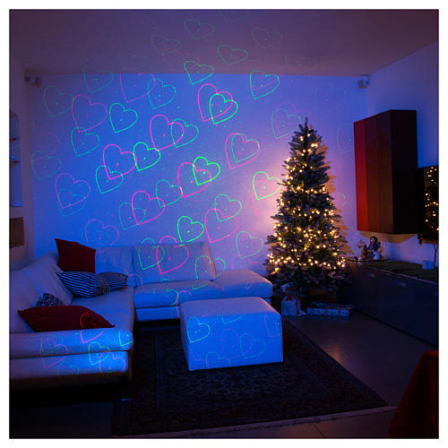 Christmas lights laser projector for interiors blue with heart decorations 1