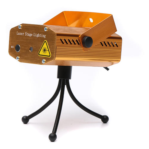 Projektor laserowy do wnętrz złoty motyw serc i gwiazd czerwony zielony z funkcją Music 4