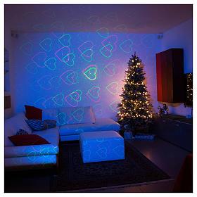 Projetor laser dourado tema corações e estrelas vermelho verde s3