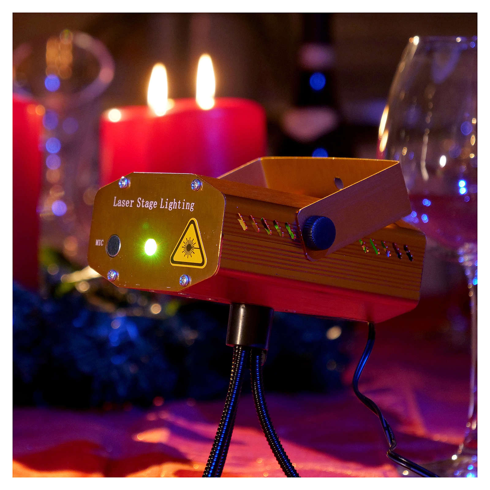Christmas Laser Lights Projector Gold Decorated With Hearts For Interiors