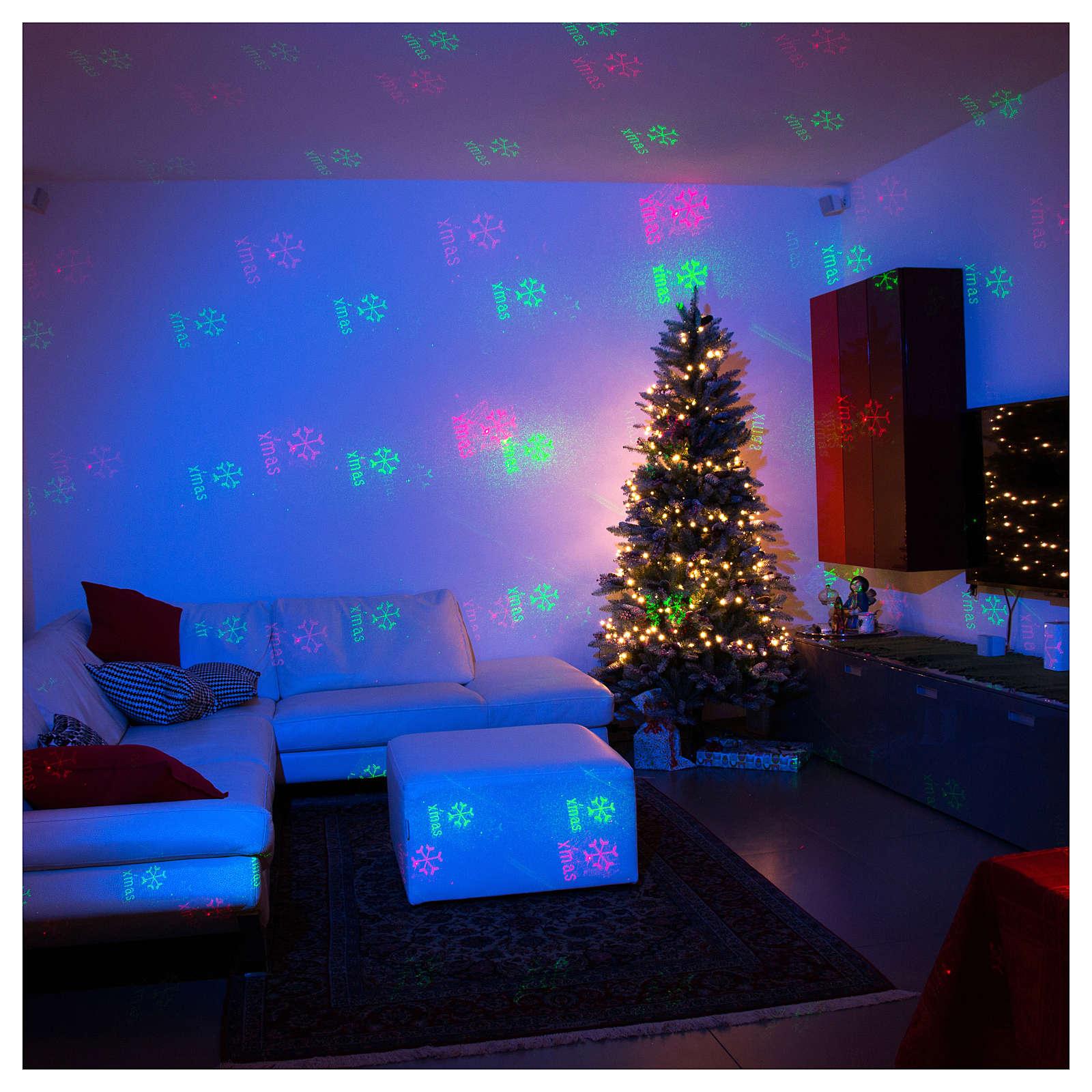 Projecteur laser thème Noël pour intérieur points vert rouge 3