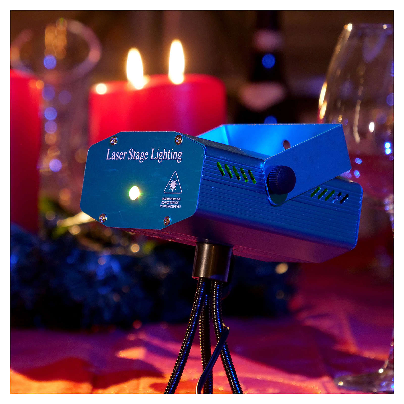 Christmas laser lights projector blue with Christmas decorations for interiors 3