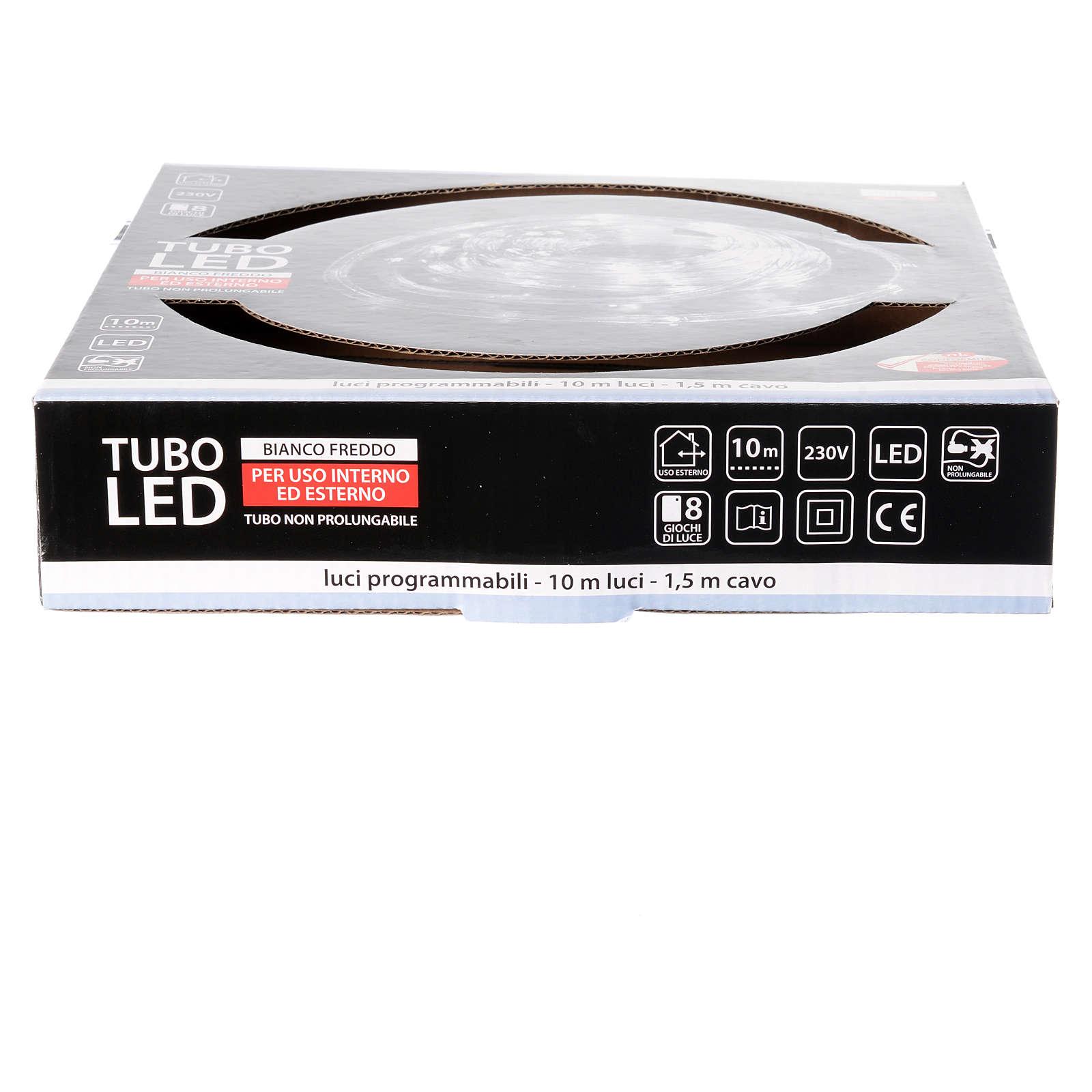 Luce natalizia tubo led 10 mt ghiaccio programmabile esterno 3