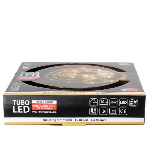 Luce natalizia tubo led bianco caldo 10 mt programmabile esterno 4
