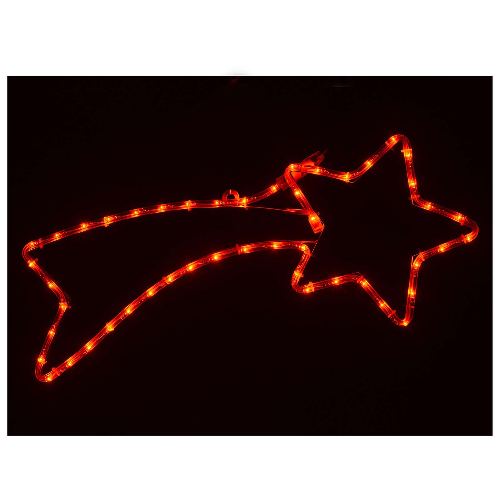 Decorazione stella cometa 36 led rossi per esterno 65x30 cm 3