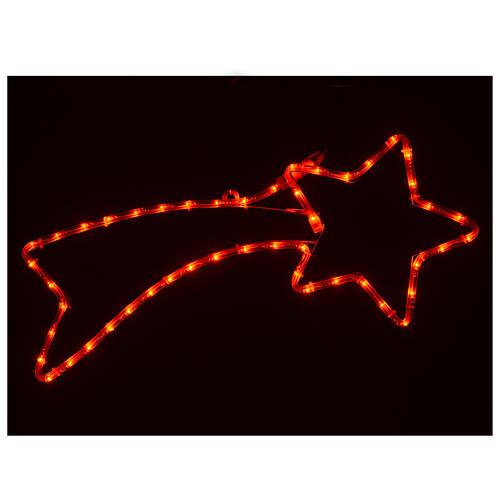 Decorazione stella cometa 36 led rossi per esterno 65x30 cm 2