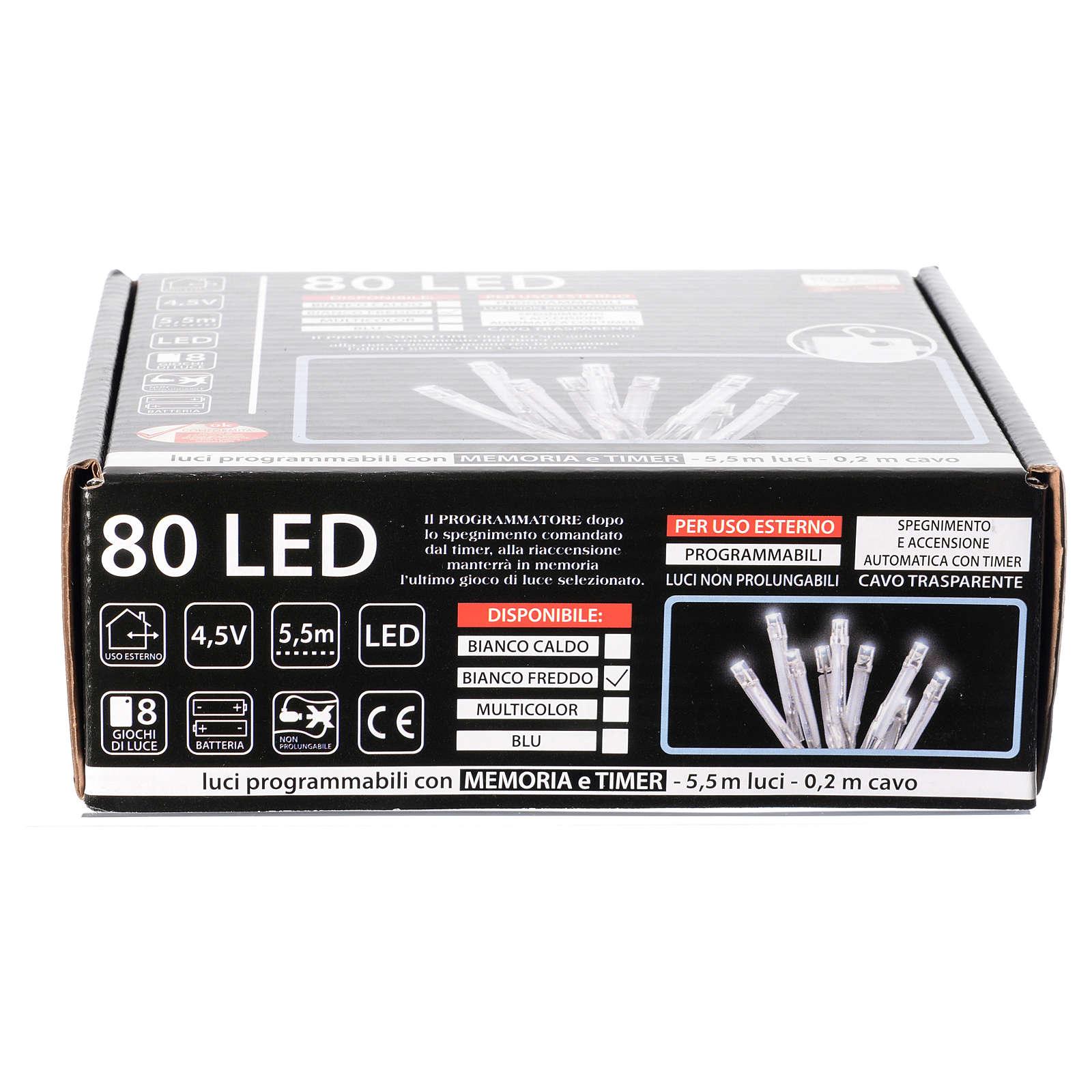 Catena luci Natale 80 led ghiaccio timer batteria esterno 3
