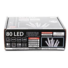 Catena luci Natale 80 led ghiaccio timer batteria esterno s4