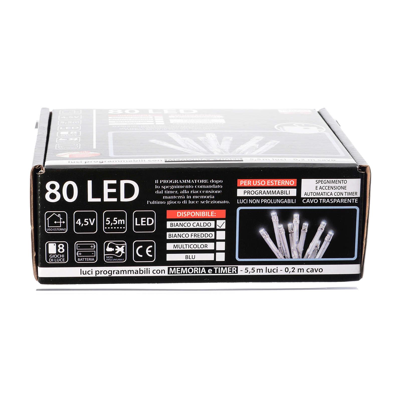 Catena luci Natale 80 led bianco caldo batteria timer esterno 3
