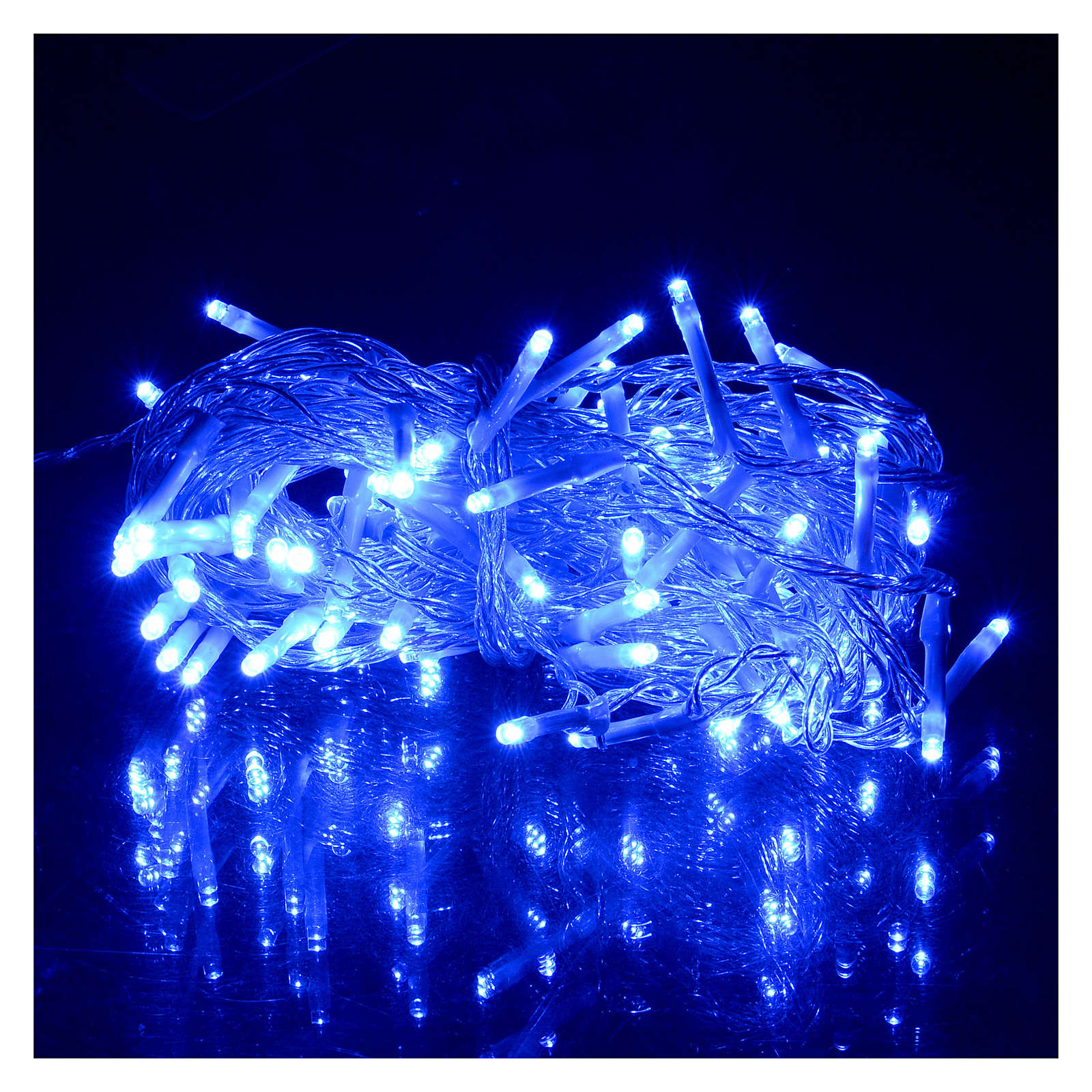 Catena luci Natale 80 led blu batteria timer esterno 3