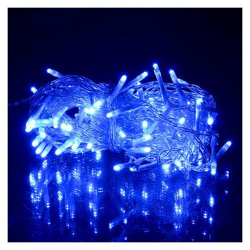 Catena luci Natale 80 led blu batteria timer esterno 2
