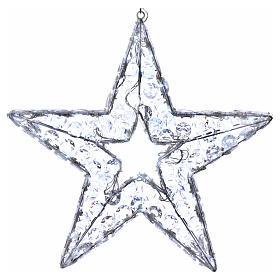 Luce natalizia stella 80 led bianco ghiaccio interno esterno s1