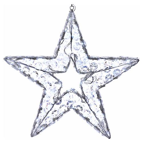 Luce natalizia stella 80 led bianco ghiaccio interno esterno 1