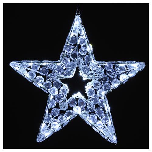 Luce natalizia stella 80 led bianco ghiaccio interno esterno 2