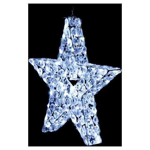 Luce natalizia stella 80 led bianco ghiaccio interno esterno 4