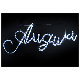 Illuminated writing Good Wishes 168 led lights cold white for internal and external use s2