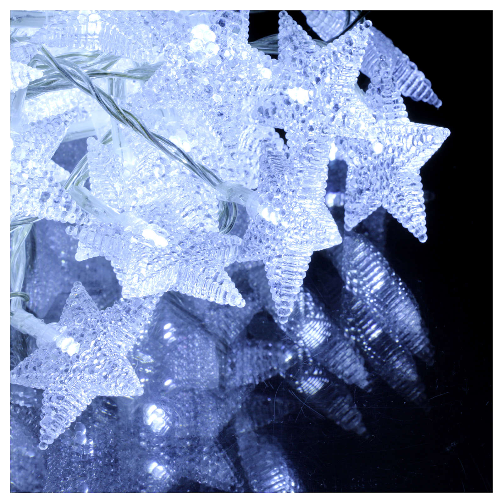 Catena stelline 100 led bianco ghiaccio interno esterno 3